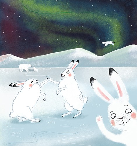Esther van den Berg Illustration - esther van den berg, esther, van den berg, painted, digital, commercial, advertising, advertisements, posters, editorial, magazines, mass market, trade, photoshop, illustrator, rabbits, north pole, polar bear, animals, YA, young reader