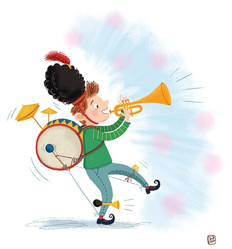 Esther van den Berg Illustration - esther van den berg, esther, van den berg, painted, digital, commercial, advertising, advertisements, posters, editorial, magazines, mass market, trade, photoshop, illustrator, boy, child, instruments, music, YA, young reader, colourful