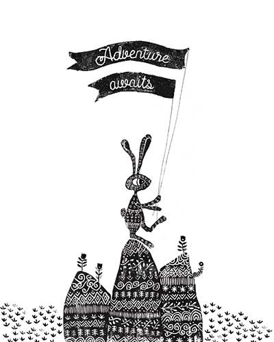 Erin Balzer Illustration - erin, balzer, erin balzer, black and white, b&w, wood printing, printing, licensing, picture book, stationary, greetings cards, rabbit, rabbits, adventure, card, flag, flags, rocks, plants, flowers, flower, rock, cards