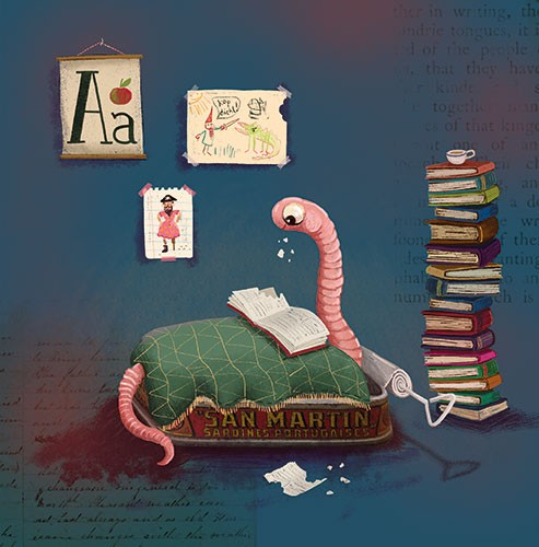 Esther van den Berg Illustration - esther van den berg, esther, van den berg, painted, digital, commercial, advertising, advertisements, posters, editorial, magazines, mass market, trade, photoshop, illustrator, insects, animals, worm, books, bookworm, reading, posters, bed, room, house, h