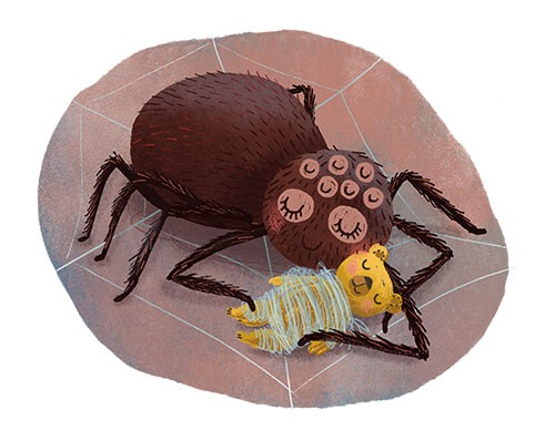 Esther van den Berg Illustration - esther van den berg, esther, van den berg, painted, digital, commercial, advertising, advertisements, posters, editorial, magazines, mass market, trade, photoshop, illustrator, animals, spider, toy, teddy bear, web, cute, hug, love, halloween, insects