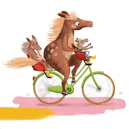 Esther van den Berg Illustration - esther van den berg, esther, van den berg, painted, digital, commercial, advertising, advertisements, posters, editorial, magazines, mass market, trade, photoshop, illustrator, animals, horses, family, bike, bicycle, riding, fun, happy, parent, children,