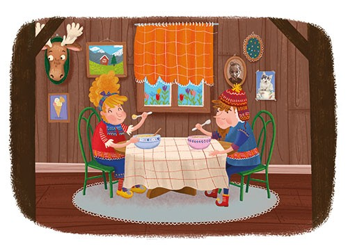 Esther van den Berg Illustration - esther van den berg, esther, van den berg, painted, digital, commercial, advertising, advertisements, posters, editorial, magazines, mass market, trade, photoshop, illustrator, house, home, wood, countryside, forest, family, dinner, table, food, man, woma