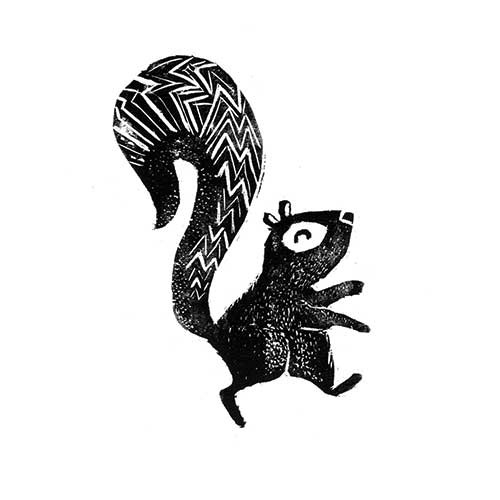 Erin Balzer Illustration - erin, balzer, erin balzer, black and white, b&w, wood printing, printing, licensing, picture book, stationary, greetings cards, squirrel, animal, animals, cute, sweet, funny