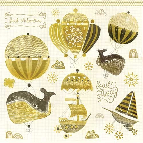 Erin Balzer Illustration - erin, balzer, erin balzer, wood printing, printing, licensing, picture book, colour, character, whale, whales, balloons, adventure, sail away, ships, umbrella, ship, boat,