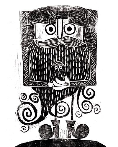 Erin Balzer Illustration - erin, balzer, erin balzer, black and white, b&w, wood printing, printing, licensing, picture book, stationary, greetings cards, man, moustache, beard, mountaineer, boots, walking, climbing,