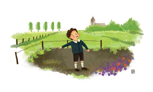 Esther van den Berg Illustration - esther van den berg, esther, van den berg, painted, digital, commercial, advertising, advertisements, posters, editorial, magazines, mass market, trade, photoshop, illustrator, boy, child, figure, person, flowers, cute, sweet, field, grass, trees, church