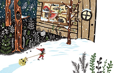 Erin Balzer Illustration - erin, balzer, erin balzer, wood printing, printing, licensing, picture book, stationary, greetings cards, christmas, seasonal, festive, YA, young reader, snow, weather, elf, santa, grotto, forest
