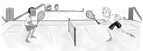 Eglantine Ceulemans Illustration - eglantine ceulemans, eglantine, ceulemans, pen, ink, watercolour, painting, painted, fiction, educational, commercial, picture book, black and white, b+w, boys, people, characters, figures, friends, sports, tennis, playing, exercise, court