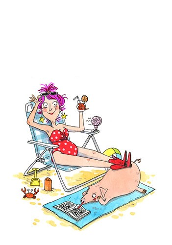 Eglantine Ceulemans Illustration - eglantine ceulemans, eglantine, ceulemans, pen, ink, watercolour, painting, painted, fiction, commercial, picture book, girl, woman, sunbathing, lounger, beach, pig, blanket, crab, sand, seaside, cocktail, fan, hot, holiday, relax,