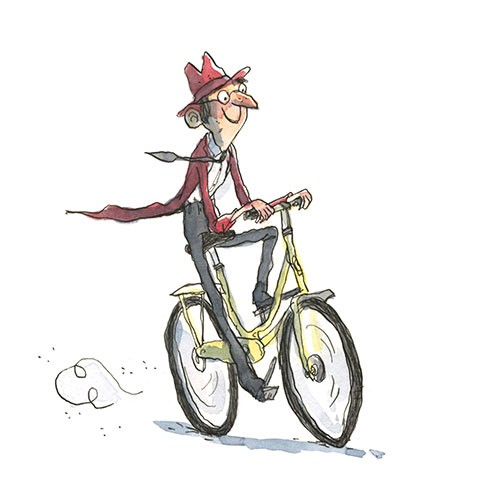 Eglantine Ceulemans Illustration - eglantine ceulemans, eglantine, ceulemans, pen, ink, watercolour, painting, painted, fiction, commercial, picture book, man, bike, bicycle, riding, hat, tie, happy, smile, activity, sport, cycling,