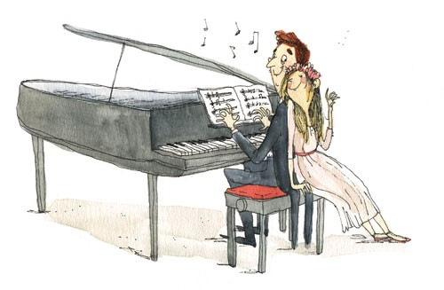 Eglantine Ceulemans Illustration - eglantine ceulemans, eglantine, ceulemans, pen, ink, watercolour, painting, painted, fiction, educational, commercial, picture book, people, men, women, man, woman, music, piano