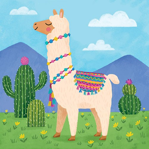 Emily Emerson Illustration - emily, emerson, emily, emerson, picture book, educational, picturebook, board, board book, digital, photoshop, illustrator, colour, colourful, bright, young, animal, llama, alpaca, grass, mountains, cactus, grass, flowers, sky, clouds, blanket, pompoms, w