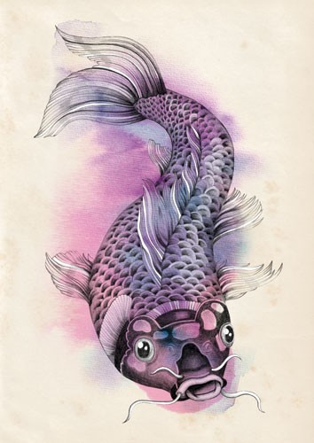 Emily Twomey Illustration - emily twomey, emily, twomey, watercolour, traditional, detailed, painted, paint, fish, animal, colour, colourful, line, black line