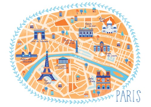 Emily Twomey Illustration - emily twomey, emily, twomey, painted, traditional, young reader, YA, picture book, picturebook, map, text, type, city, paris, buildings, illustration, textures, print