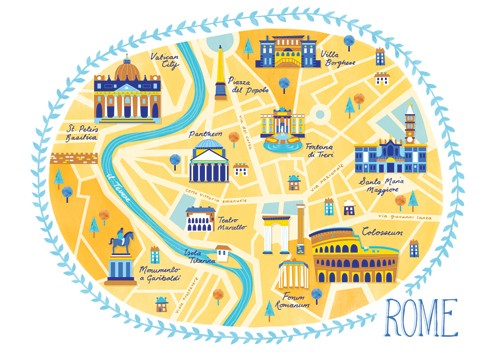 Emily Twomey Illustration - emily twomey, emily, twomey, painted, traditional, young reader, YA, picture book, picturebook, map, text, type, city, rome, italy, buildings, illustration, textures, print