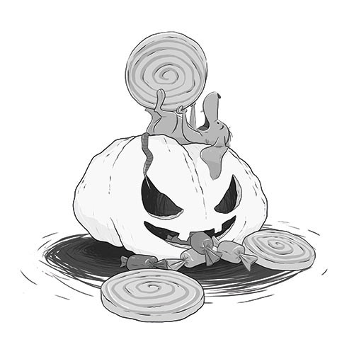 Ester Garay Illustration - ester, garay, ester garay, commercial, educational, fiction, mass market, picture books, comics, magazines, sweet, young, digital, photoshop, pumpkins, sweets, halloween, mice, mouse, rats, treats, food, eating, black and white, b&w, greyscale