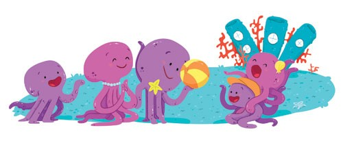 Ester Garay Illustration - ester, garay, ester garay, commercial, educational, fiction, mass market, picture books, cute, sweet, YA, young reader, cute, sweet, animals, octopus, family, humor, happy, ball, sea, underwater , colour, colourful