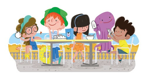 Ester Garay Illustration - ester, garay, ester garay, commercial, educational, fiction, mass market, picture books, cute, sweet, YA, young reader, animal, octopus, friends, friendship, eating, food, seaside, child,boy, person, figure, figurative, colour, colourful,