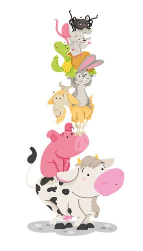Ester Garay Illustration - ester, garay, ester garay, commercial, educational, fiction, mass market, picture books, cute, sweet, YA, young reader, animals, cow, pig, piggy, goat, rabbit, spider, mouse, turtle, tortoise, playing, play time, friend, friendship