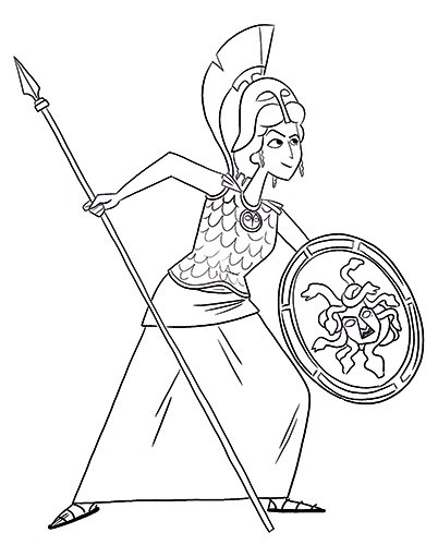 Ester Garay Illustration - ester, garay, ester garay, commercial, educational, fiction, mass market, picture books, black and white, b&w, greek, mythology, fantasy, character, person, goddess, athena, warrior, helmet, shield, medusa, spear, armour, fighting, woman,