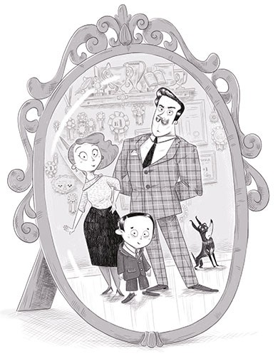 Ester Garay Illustration - ester, garay, ester garay, commercial, educational, fiction, mass market, YA, young reader, black and white, b & w, family, mother, father, mum, dad, son, child, dog, photo, frame, mirror, pictures, wall, house, home, suit, medals, trophies,