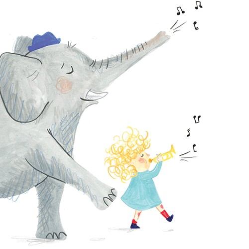 Emily Hamilton Illustration - emily, hamilton, emily hamilton, emily hamilton illustration, drawing, pencil, hand drawn, trade, traditional, commercial, picture book, picturebook, sweet, cute, girl, person, figure, elephant, pets, animals, friends, music, trumpet, notes, musical,happy