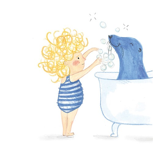 Emily Hamilton Illustration - emily, hamilton, emily hamilton, emily hamilton illustration, drawing, pencil, hand drawn, trade, traditional, commercial, picture book, picturebook, sweet, cute, girl, person, figure, seal, pets, animals, friends, happy, bath, bubbles,