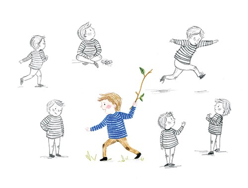 Emily Hamilton Illustration - emily, hamilton, emily hamilton, emily hamilton illustration, drawing, pencil, hand drawn, trade, traditional, commercial, picture book, picturebook, colourful, sweet, cute, figure, person, child, boy, playing, happy, black and white, stick, jumping,
