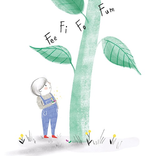 Emily Hamilton Illustration - emily, hamilton, emily hamilton, illustration, drawing, pencil, hand drawn, trade, traditional, commercial, picture book, picturebook, colourful, sweet, cute, figure, person, child, beanstalk, fairytale,story, jack and the beanstalk, giant, plant, grass