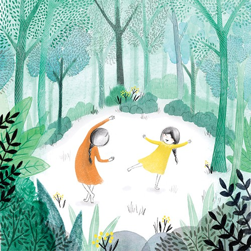 Emily Hamilton Illustration - emily, hamilton, emily hamilton, emily hamilton illustration, drawing, pencil, hand drawn, trade, traditional, commercial, picture book, picturebook, colourful, sweet, cute, figures, people, girls, children, forest, woods, trees, dancing, playing, happy,
