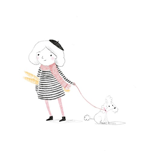 Emily Hamilton Illustration - emily, hamilton, emily hamilton, emily hamilton illustration, drawing, pencil, hand drawn, trade, traditional, commercial, picture book, picturebook, colourful, sweet, cute, girl, person, figure, dog, pet, beret, hat, baguette, bread, french, poodle, scar