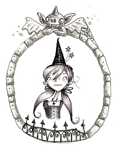 Erica Jane Waters Illustration - erica jane waters, fiction, commercial, line, black line, pencil, fiction, children, girls, tween, person, figures, woman, potion, magic,witch