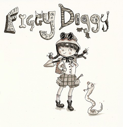 Erica Jane Waters Illustration - erica jane waters, fiction, commercial, line, black line, pencil, fiction, children, girls, tween, person, figures, woman, figgy diggy, figgy, diggy, digging, history, excavation, spade, bones