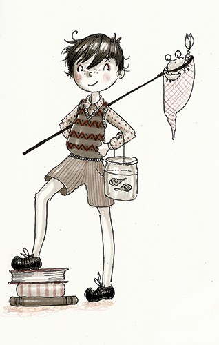 Erica Jane Waters Illustration - erica jane waters, fiction, commercial, line, black line, pencil, fiction, children, tween, person, figures, boy, school, fishing, fish, net