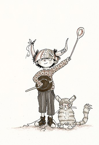 Erica Jane Waters Illustration - erica jane waters, fiction, commercial, line, black line, pencil, fiction, children, tween, boy, cat, hat, viking, play, horns, friends