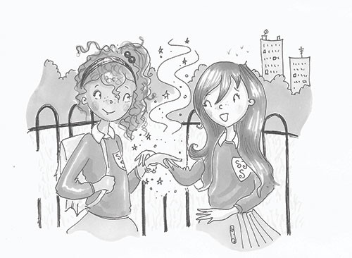 Erica Jane Waters Illustration - erica jane waters, fiction, commercial, line, b&w, black and white, black line, pencil, fiction, children, girls, tween, teen, girls, friends, school, break, play, peers, bracelet, magic