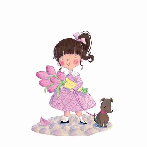 Erica Jane Waters Illustration - erica jane waters, traditional, painterly, picture book, commercial, paint, painted, acrylic, young, girl, dress, flowers, tulips, dog, pet, walk, sweet, young, cute, bow