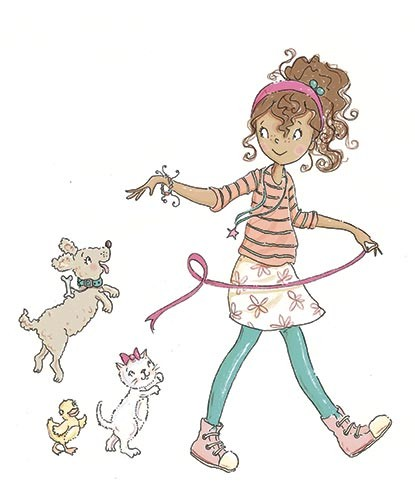 Erica Jane Waters Illustration - erica jane waters, fiction, commercial, line, black line, pencil, colour, fiction, cat, children, girls, teen, person, dog, pet, cover, series, magic, bracelet, cat,