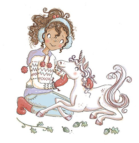 Erica Jane Waters Illustration - erica jane waters, fiction, commercial, line, black line, pencil, colour, fiction, children, girl, girls, teen, person, cover, series, magic, bracelet, unicorn, pet, friends