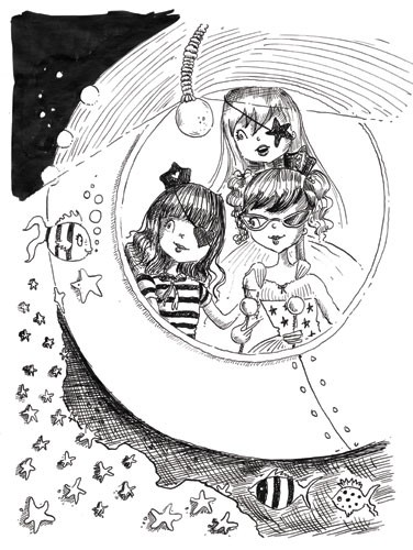 Erica Jane Waters Illustration - erica jane waters, fiction, commercial, tween, teen, teenagers, black and white, black line, black and white line, people, girls, girly, fairies, fairy, faeries, faery