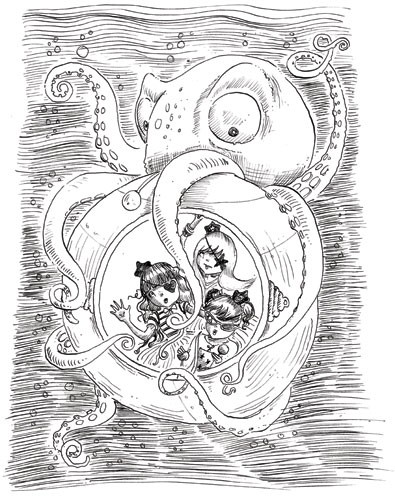 Erica Jane Waters Illustration - erica jane waters, fiction, commercial, tween, teen, teenagers, black and white, black line, black and white line, people, girls, girly, pirates, octopus, oceans, seas, submarine