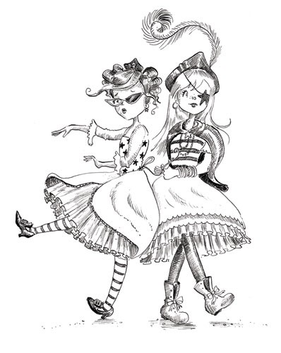 Erica Jane Waters Illustration - erica jane waters, fiction, commercial, tween, teen, teenagers, black and white, black line, black and white line, people, girls, girly, pirates, ship, ocean, sea