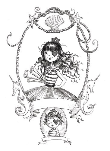 Erica Jane Waters Illustration - erica jane waters, fiction, commercial, tween, teen, teenagers, black and white, black line, black and white line, people, girls, girly, pirates, babies, basket, baby