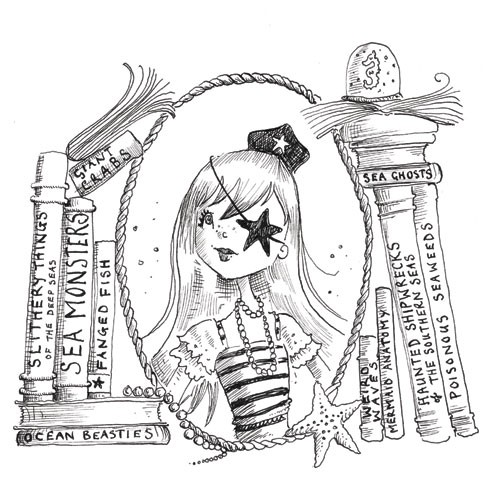 Erica Jane Waters Illustration - erica jane waters, fiction, commercial, tween, teen, teenagers, black and white, black line, black and white line, people, girls, girly, pirates, woman, women, captain