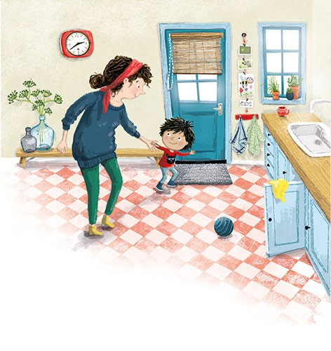 Eefje Kuijl Illustration - eefje, kuijl, eefji kuijl, commercial, educational, fiction, mass market, young reader, YA, digital, colour, colourful, photoshop, young, cute, sweet, child, mum, mummy, mother, boy, kitchen, door, sink, window, plants, clock, ball