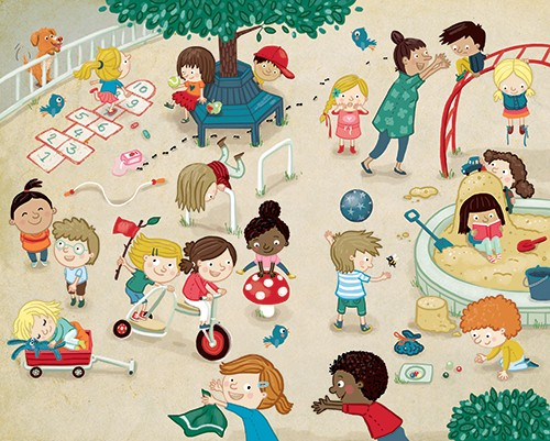 Eefje Kuijl Illustration - eefje, kuijl, eefji kuijl, commercial, educational, fiction, mass market, young reader, YA, digital, colour, colourful, photoshop, young, cute, sweet, child, children girls, boys, play, playground, teacher, school, animal, dog, tree, toys