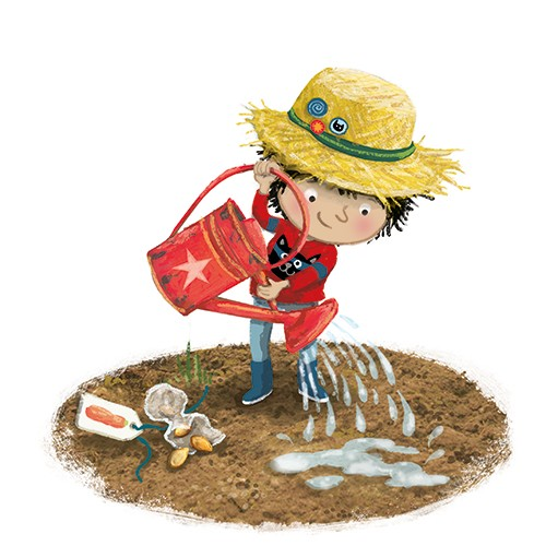 Eefje Kuijl Illustration - eefje, kuijl, eefji kuijl, commercial, educational, fiction, mass market, young reader, YA, digital, colour, colourful, photoshop, young, cute, sweet, child, boy, gardening, fun, soil, plants, hat