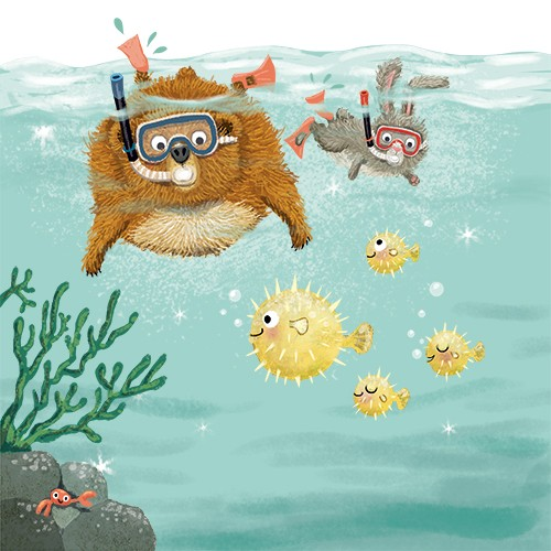 Eefje Kuijl Illustration - eefje, kuijl, eefji kuijl, commercial, educational, fiction, mass market, illustration, young reader, YA, digital, colour, colourful, photoshop, animals, bear, hare, rabbit, friends, we go together, water, sea, ocean, snorkelling, fish, pufferfish, coral,