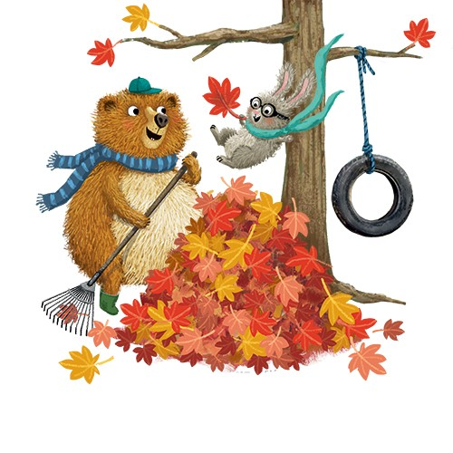 Eefje Kuijl Illustration - eefje, kuijl, eefji kuijl, commercial, educational, fiction, mass market, illustration, young reader, YA, digital, colour, colourful, photoshop, animals, bear, hare, rabbit, friends, we go together, autumn, leaves, autumn leaves, tyre, tyre swing, trees,